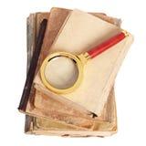 Livros antigos, ampliação do ouro Imagem de Stock Royalty Free