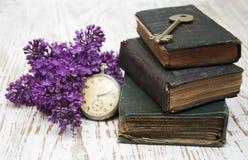 Livros antigos e chave velha Foto de Stock