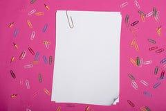 Livros Brancos vazios e clipes de papel coloridos isolados no rosa Imagem de Stock