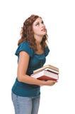 Livros carreg da mulher consideravelmente nova Foto de Stock Royalty Free