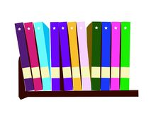 Livros coloridos na ilustração do vetor das prateleiras Objetos para decorações, fundo, texturas, sinal, símbolo e logotipo imagem de stock royalty free