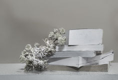 Livros com as flores com o fundo de madeira ainda vida-preto e Imagens de Stock Royalty Free