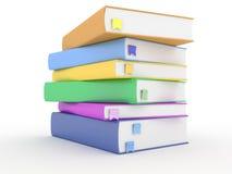 Livros com os marcador no branco Fotos de Stock Royalty Free