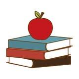 Livros da cor com a maçã vermelha na parte superior Fotografia de Stock Royalty Free