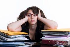 Livros da menina cansados Foto de Stock Royalty Free
