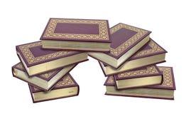 Livros de couro empilhados com bordas da folha de ouro Imagens de Stock Royalty Free