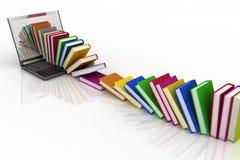 Livros de seu portátil em um branco Fotos de Stock Royalty Free