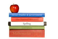 Livros de texto da escola Imagens de Stock