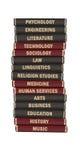 Livros de texto sujeitos da universidade Foto de Stock