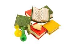 Livros diminutos com cor-de-rosa e os vasos Fotos de Stock Royalty Free