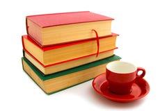 Livros e copo de café Imagem de Stock Royalty Free