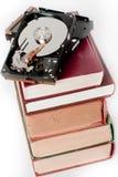 Livros e disco rígido Fotografia de Stock Royalty Free