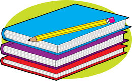 Livros e lápis Foto de Stock Royalty Free