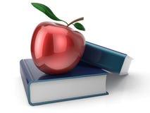 Livros e maçã vermelha de volta à aprendizagem da escola Fotos de Stock