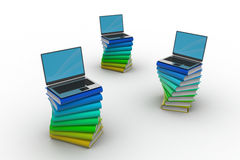 Livros e portátil Imagem de Stock Royalty Free