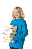 Livros e sorrisos de escola da terra arrendada da estudante felizes fotografia de stock