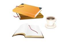 Livros e um copo de café Fotos de Stock Royalty Free