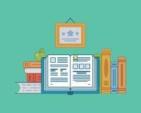 Livros em uma luz - fundo azul Foto de Stock Royalty Free