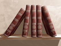 Livros em uma prateleira Fotos de Stock Royalty Free