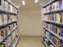 Livros em uma prateleira na biblioteca Fotografia de Stock