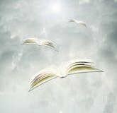 Livros em vôo foto de stock