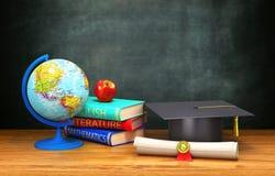Livros, globo, diploma, maçã, mentira acadêmico do tampão em uma tabela de madeira no fundo da placa ilustração stock