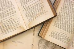 Livros muito velhos abertos Fotos de Stock