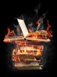 Livros no incêndio Foto de Stock Royalty Free