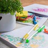 Livros para colorir adultos, tendência nova do alívio de esforço Fotografia de Stock Royalty Free