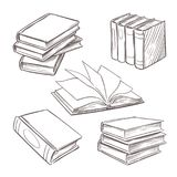 Livros tirados mão do vintage Pilhas do livro do esboço Biblioteca, elementos retros do projeto do vetor da livraria isolados no  ilustração do vetor