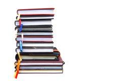Livros velhos do diário no fundo branco Fotos de Stock Royalty Free