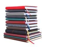 Livros velhos do diário no fundo branco Imagem de Stock