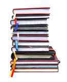 Livros velhos do diário no fundo branco Foto de Stock Royalty Free