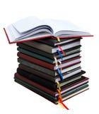 Livros velhos do diário no fundo branco Fotografia de Stock