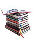 Livros velhos do diário no fundo branco Fotografia de Stock Royalty Free
