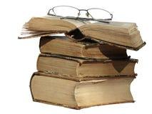 Livros velhos e vidros Fotografia de Stock Royalty Free
