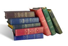 Livros velhos no fundo branco Fotografia de Stock
