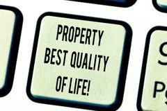 Livskvalitet för egenskap för textteckenvisning bästa Begreppsmässigt foto som inhandlar din egen tangent för tangentbord för hus arkivbild