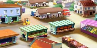 Livsmedelsbutikmarknad i en liten stad Arkivbild