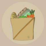 Livsmedelsbutikpåse vektor illustrationer