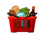 Livsmedelsbutikshopping Korg-, lager-, mat- och drinksymbol den främmande tecknad filmkatten flyr illustrationtakvektorn stock illustrationer