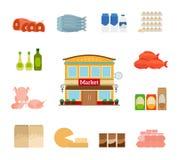 Livsmedelsbutiksymboler vektor illustrationer
