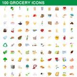100 livsmedelsbutiksymboler uppsättning, tecknad filmstil stock illustrationer