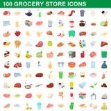 100 livsmedelsbutiksymboler uppsättning, tecknad filmstil Arkivfoton