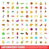 100 livsmedelsbutiksymboler uppsättning, tecknad filmstil Arkivbilder