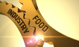 Livsmedelsindustribegrepp Guld- cogwheels 3d Fotografering för Bildbyråer