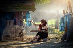 Livsstil av lantliga asiatiska kvinnor i fältbygden Thailand royaltyfria foton