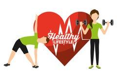Livsstil för aktivitet för sport för man och för kvinna för hjärtahastighet sund stock illustrationer