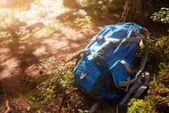 Livsstilen som fotvandrar den moderna ryggsäcken som är utomhus- i skogblått, vandrar för lopp vaggar på och trädet i skogen royaltyfria foton