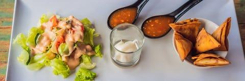 Livsstilmat Maträtten består av sallad, samosaen och flera sorter av såsBANRET, långt format arkivfoto